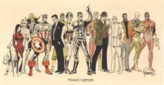 """""""Peace Mister"""" illustration of Marvel characters by Jim Steranko. Comic Book Artists, Comic Books Art, Comic Art, Marvel Characters, Marvel Heroes, Marvel Comics, Vintage Comic Books, Vintage Comics, Agents Of Shield Comic"""