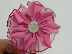 DIY Flor de Listón Pétalos Doblados#3 (Ribbon Flower) - YouTube
