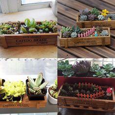 Wooden Garden Vintage Planter Flower Box Succulent Rectangle Office Plants Storage Box Pot For Home Decorative