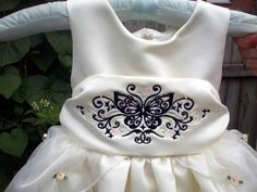 Machine embroidery filigree butterfly design.
