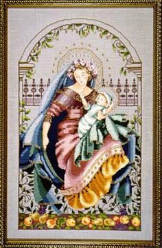 "Exquisite cross stitch pattern named ""Madonna of the Garden"" by Mirabilia that is stitched with DMC threads along with Kreinik Metallic Thre..."