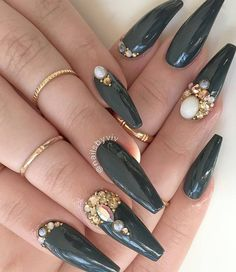 Deep Green Coffin Nails with Jewels//