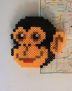 Perler Bead monkey | Items similar to Manic Monkey Perler Bead Magnet on Etsy