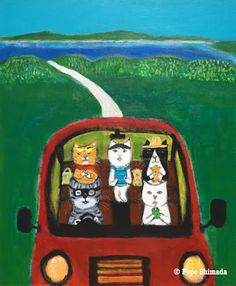 """Pepe Shimada Paitings: """"Guest House Pickup Cats"""" Acrylic on c. Animals And Pets, Funny Animals, Pick Up, Cat Art, Lunch Box, Illustration Art, Kitty, Inspiration, Cool Stuff"""