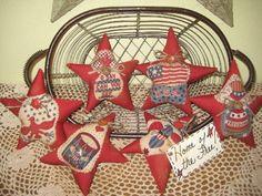 patriotic fabric star ornaments