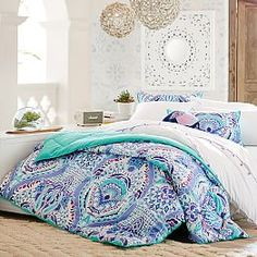 Kaleidoscope Comforter, Twin/Twin XL, Blue Multi – Girls Bedding – Quilts + Comforters – Pottery Barn Teen - New Site Teen Girl Comforters, Teen Girl Bedding, Teen Girl Bedrooms, Girl Rooms, Tween Bedding Sets, Twin Xl, Console, Pottery Barn Teen Bedding, Diy Home