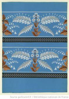 [Manufacture Jacquemart et Bénard. Bordure. Deux bandes de frise de végétaux de fantaisie sur une frise de cercles] : [papier peint] Paris, 1799