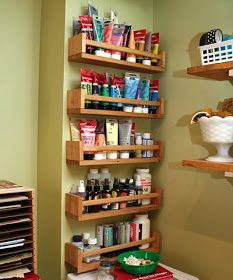 Spice racks for storing paint pots and glues 4 Shop Organizing Projects - Blade Storage, Battery Charging System, Storage Racks I find that by forcing.