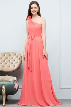 A-line One-Shoulder Sleeveless Floor-Length Bridesmaid Dress with Bow Sash | Yesbabyonline.com