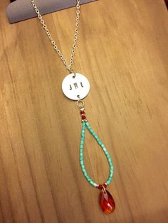 Beaded Monogram Necklace by JustStampItGifts on Etsy https://www.etsy.com/listing/256066253/beaded-monogram-necklace