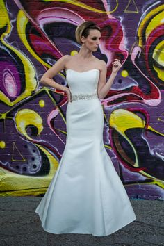 'Blomfield' A stunning Mikado structured fishtail gown with optional detachable sequin embellished belt. Sweetheart neckline and button back adds a touch of sophistication