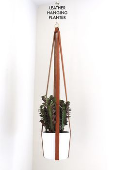 How to make a leather hanging planter http://www.apairandasparediy.com http://barefootstyling.com