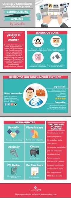Consejos y herramientas para hacer tu propia Curriculum Online. Infografía en español. #CommunityManager