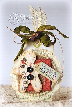 """** Altered Christmas Tag  """"Homemade For The Holidays"""" Tim Holtz Style @juleensears2"""