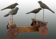 1890 Folk Art Birds Pull Toy
