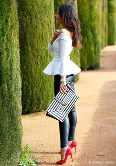 just so chic...peplum top, leather leggings and that bag! not forgetting the shoes