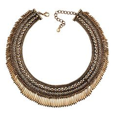 Jane Stone Antique Gold Tone Vintage Chunky Spike Tassels Choker Collar Necklace Statement Tribal Ethnic Layered Cluster Beaded Jewelry Bohemian for Women (Fn1393) *** Click image for more details.