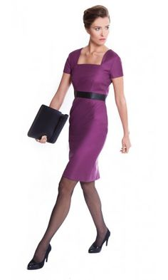 Women's garnet/merlot dress for work made from Super 100s pure wool | The Lindsay by NOOSHIN