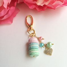 Mini macaron stack planner charm/purse charm pastel by mahalmade