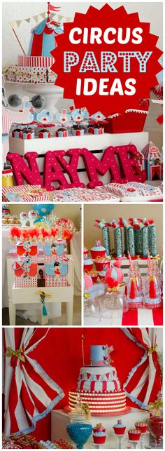 Here's a fun circus party with an amazing dessert table! See more party ideas at CatchMyParty.com!