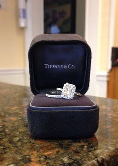 My dream engagement ring and wedding band: Tiffany Soleste Emerald cut engagement rings and wedding band