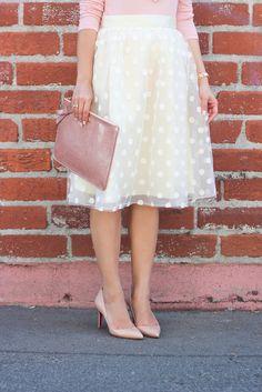 polka dots skirt, lace skirt, midi skirt, Stylish Petite, Los Angeles fashion…