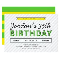 Colorful Green and Yellow Any Age Modern Birthday Card