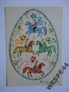 WESOLYCH SWIAT HANNA BALICKA FRIBES 20681 Old Postcards, Painting & Drawing, Christmas Cards, Eggs, Polish, Easter, Traditional, Halloween, Drawings