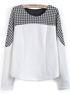 White Long Sleeve Contrast Houndstooth Blouse pictures