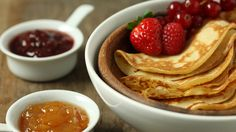 Crêpes à la Confiture | Jacques Pepin. Crepes: 2/3 cup(s) all-purpose flour, 2 large eggs, 1/2 teaspoon(s) sugar, 3/4 cup(s) nonfat milk, 1 tablespoon(s) corn or canola oil, and a little additional oil for greasing the skillet