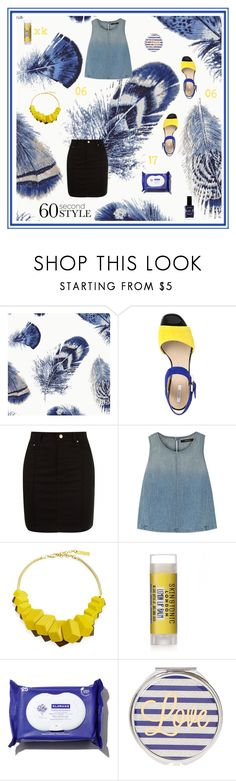 """""""blue and yellow again"""" by xanthik ❤ liked on Polyvore featuring Thibaut, Geox, Amapô, J Brand, Lafayette 148 New York, Lauren B. Beauty, Blue, statementnecklace, denimtop and 60secondstyle"""