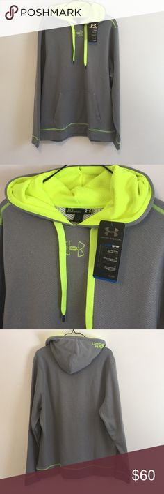 NEW Under Armour Hoodie FLASH SALE 1 HR Brand new with tags Under Armour men's hoodie - grey and neon yellow. Super soft, loose fit. Under Armour Shirts Sweatshirts & Hoodies