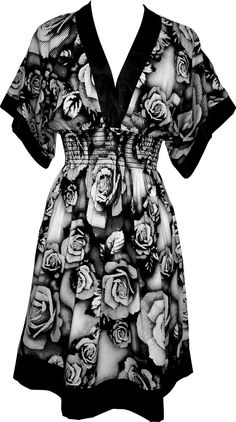 Pixelated Floral Black and White Pullover Dress Junior Plus Size, (dress, evening dress, black dress, dresses, halter, plus size, cocktail, plus size sundress, pretty, sundresses)