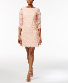 Jessica Howard Petite Lace Illusion Sheath Dress | macys.com
