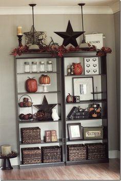 Primitive bookshelf decor prim decor in 2019 인테리어 Country Decor, Rustic Decor, Country Fall, Rustic Design, Country Style, Diy Home Decor, Room Decor, Diy Casa, My Living Room