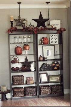 I love how this bookcase is decorated