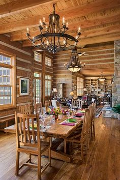 Trophy room color ideas if you run out of space at home Log cabin chandelier