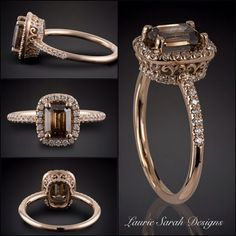 Surprise her with this Sparkling Brown Diamond Statement Ring! The Brown hues in this Diamond are as Sweet as Candy!  - LS3862  www.LaurieSarahDesigns.com