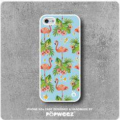 Coque iPhone 5 / 5s Flamant Rose Fleurs  Envoi Offert par POPWEEZ