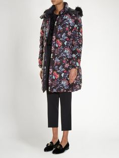 Fur-trimmed floral-print quilted-down coat