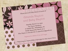 Pink and Brown patchwork Baby Shower Invitation