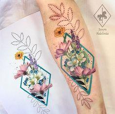 Jason Adelinia flower tattoo