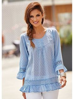 Women's romantic cotton blouse with lace seams and flounces Sewing Blouses, Ethnic Wear Designer, Blouse And Skirt, Peplum Blouse, Dress Sewing Patterns, Ladies Dress Design, Plus Size Tops, Indian Wear, Pretty Outfits