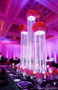Tall centerpieces with roses and crystal from Keela and Marion's Las Vegas wedding. Destination wedding planning and design by Tiffany Cook Events - The Tres Chic Wedding Reception Decorations, Wedding Centerpieces, Wedding Table, Wedding Day, Tall Centerpiece, Dream Wedding, Reception Ideas, Trendy Wedding, Elegant Wedding