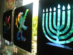 Stained Glass Windows. The menorah one (make one with only seven branches) would be great on the Shabbat pictures wall in the kitchen.