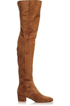 Gianvito Rossi's tan suede boots have the perfect over-the-knee silhouette - they work equally well with skinny jeans and mini skirts. This Italian-made pair has a wearable block heel and an elegant almond toe. Fold over the top to reveal the light-brown leather interior.