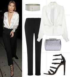 12 Celebrity-Inspired Party Outfits That You Would Never Think to Try - Deep-Plunge Top + Trousers  - from InStyle.com