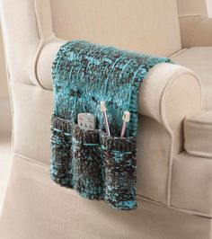 Free knitting pattern for Armchair Caddy knit in one piece with three pockets