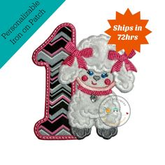 Paris poodle first birthday number iron on applique