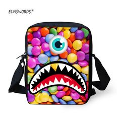 01f6ae6c617a ELVISWORDS Round Eyes School Bags Students Men and Women Shoulder Korean  Couple Cartoon Casual Polyester Fashion